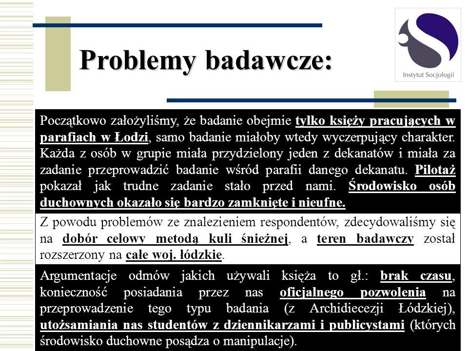 Problemy badawcze: Początkowo założyliśmy, że badanie obejmie tylko księży pracujących w parafiach w Łodzi, samo badanie miałoby wtedy wyczerpujący ch