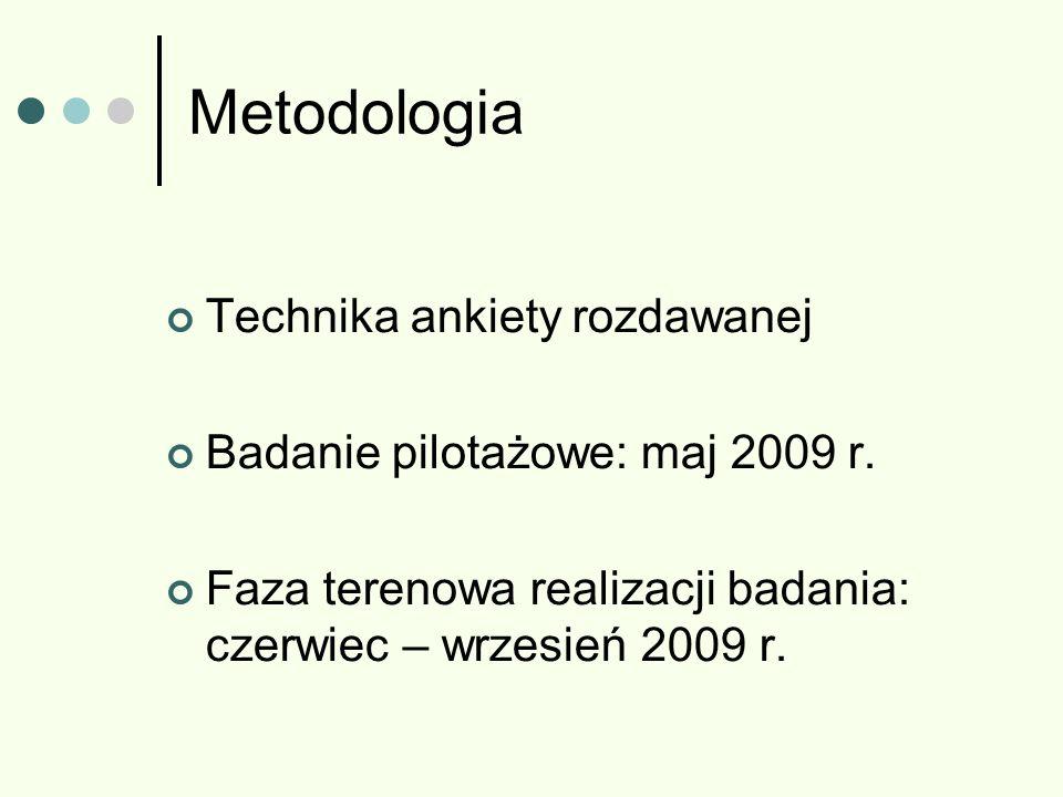 Metodologia Technika ankiety rozdawanej Badanie pilotażowe: maj 2009 r. Faza terenowa realizacji badania: czerwiec – wrzesień 2009 r.