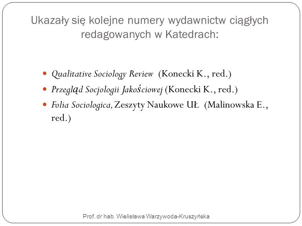 Prof. dr hab. Wielisława Warzywoda-Kruszyńska Ukazały się kolejne numery wydawnictw ciągłych redagowanych w Katedrach: Qualitative Sociology Review (K