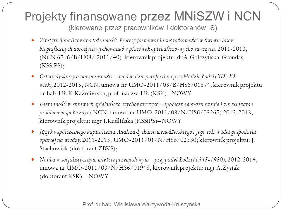 Projekty finansowane przez MNiSZW i NCN (kierowane przez pracowników i doktoranów IS) Prof. dr hab. Wielisława Warzywoda-Kruszyńska Zinstytucjonalizow