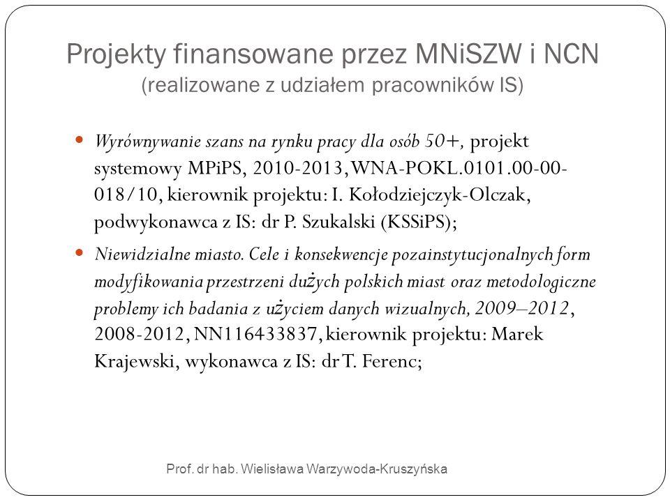 Projekty finansowane przez MNiSZW i NCN (realizowane z udziałem pracowników IS) Prof. dr hab. Wielisława Warzywoda-Kruszyńska Wyrównywanie szans na ry