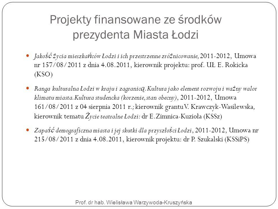 Prof. dr hab. Wielisława Warzywoda-Kruszyńska Projekty finansowane ze środków prezydenta Miasta Łodzi Jako ść ż ycia mieszka ń ców Łodzi i ich przestr