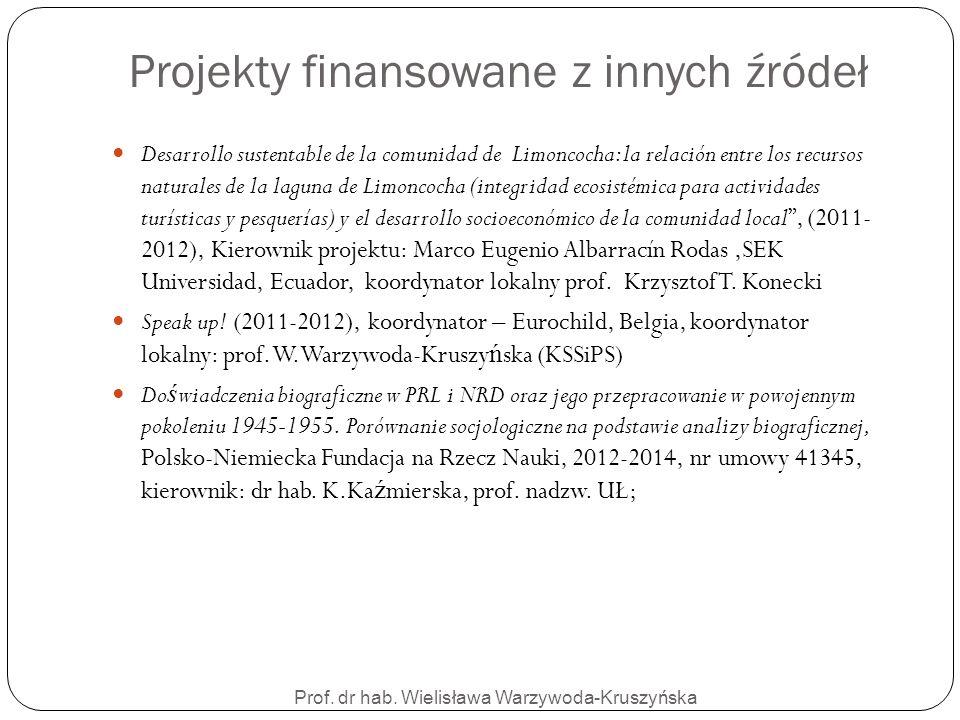 Prof. dr hab. Wielisława Warzywoda-Kruszyńska Projekty finansowane z innych źródeł Desarrollo sustentable de la comunidad de Limoncocha: la relación e