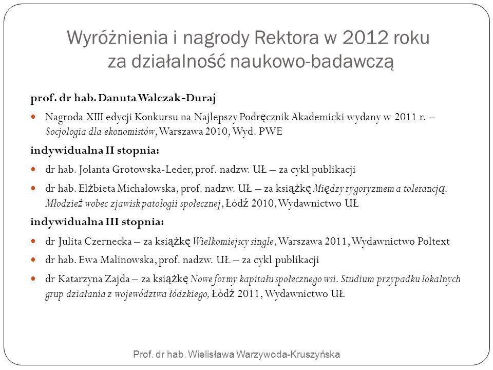 Prof. dr hab. Wielisława Warzywoda-Kruszyńska Wyróżnienia i nagrody Rektora w 2012 roku za działalność naukowo-badawczą prof. dr hab. Danuta Walczak-D