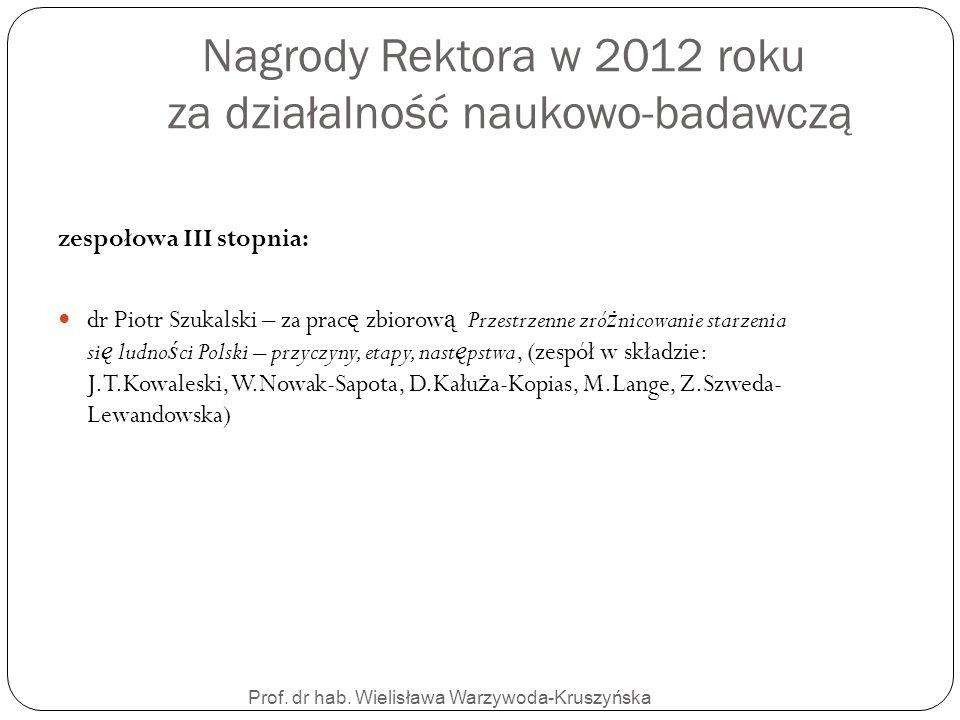 Nagrody Rektora w 2012 roku za działalność naukowo-badawczą Prof. dr hab. Wielisława Warzywoda-Kruszyńska zespołowa III stopnia: dr Piotr Szukalski –
