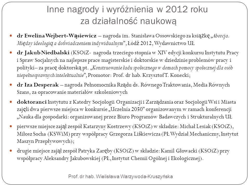 Inne nagrody i wyróżnienia w 2012 roku za działalność naukową Prof. dr hab. Wielisława Warzywoda-Kruszyńska dr Ewelina Wejbert-W ą siewicz – nagroda i