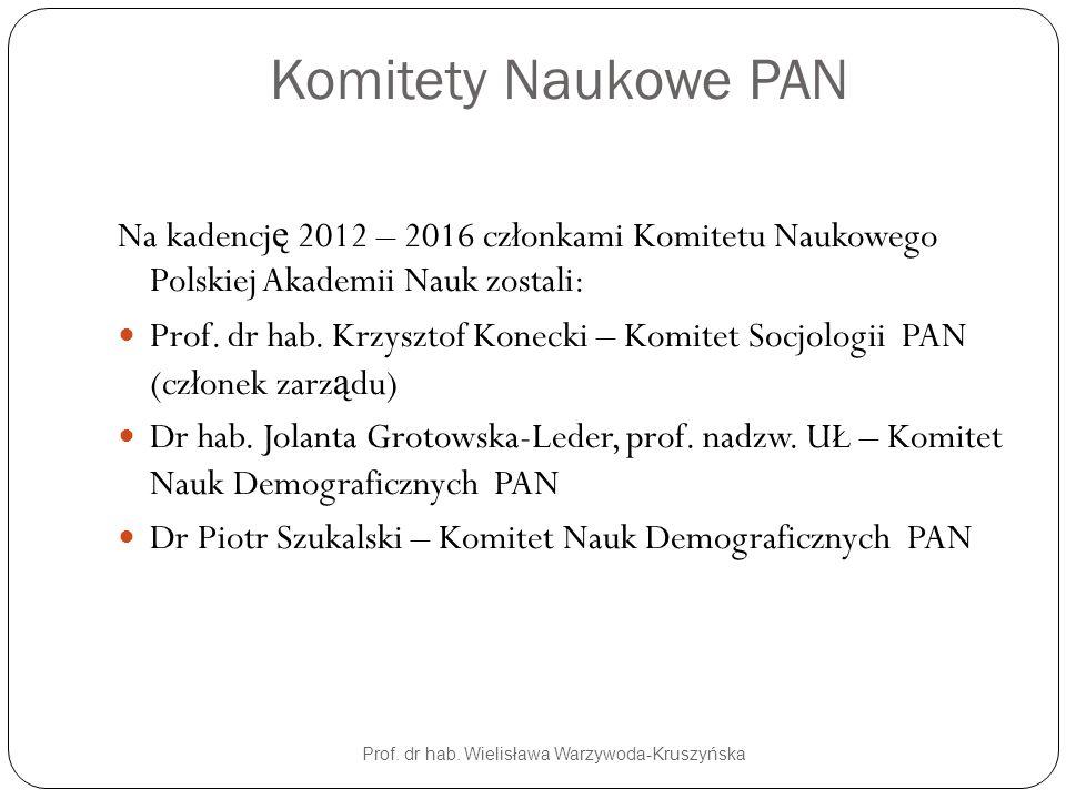 Komitety Naukowe PAN Prof. dr hab. Wielisława Warzywoda-Kruszyńska Na kadencj ę 2012 – 2016 członkami Komitetu Naukowego Polskiej Akademii Nauk zostal