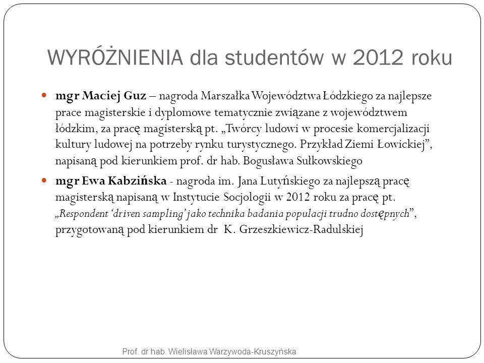 WYRÓŻNIENIA dla studentów w 2012 roku Prof. dr hab. Wielisława Warzywoda-Kruszyńska mgr Maciej Guz – nagroda Marszałka Województwa Łódzkiego za najlep