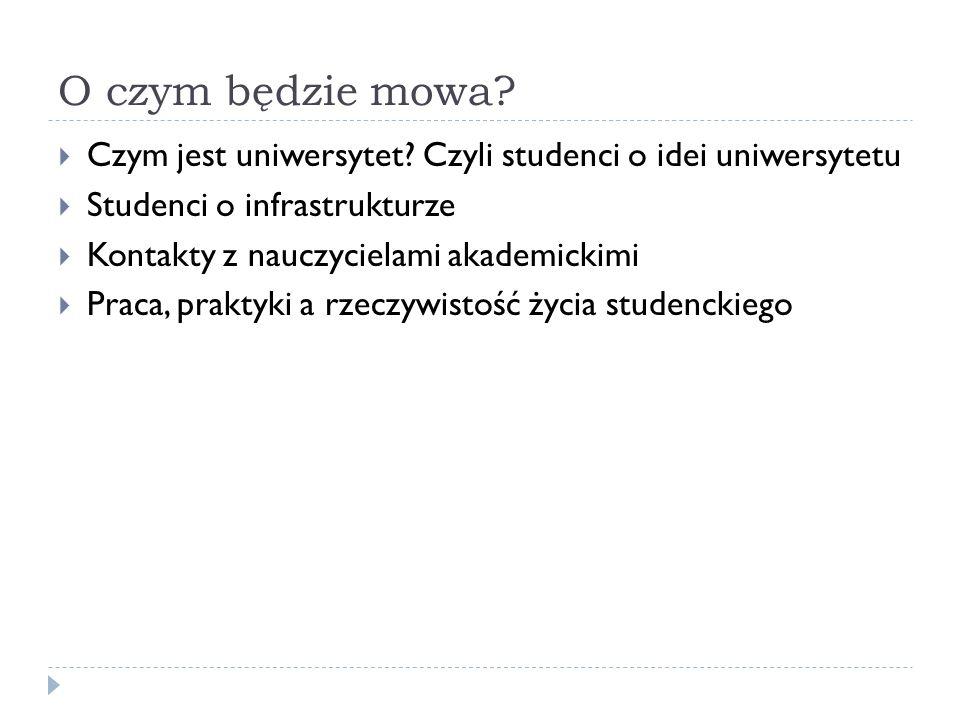 O czym będzie mowa? Czym jest uniwersytet? Czyli studenci o idei uniwersytetu Studenci o infrastrukturze Kontakty z nauczycielami akademickimi Praca,
