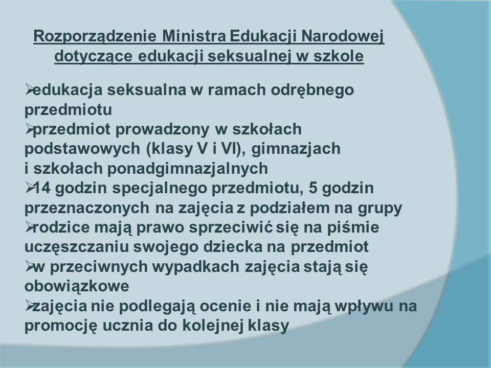 Rozporządzenie Ministra Edukacji Narodowej dotyczące edukacji seksualnej w szkole edukacja seksualna w ramach odrębnego przedmiotu przedmiot prowadzon