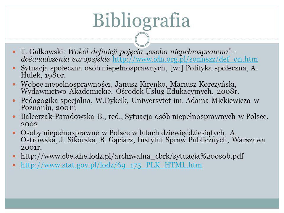 Bibliografia T. Gałkowski: Wokół definicji pojęcia osoba niepełnosprawna - doświadczenia europejskie http://www.idn.org.pl/sonnszz/def_on.htmhttp://ww