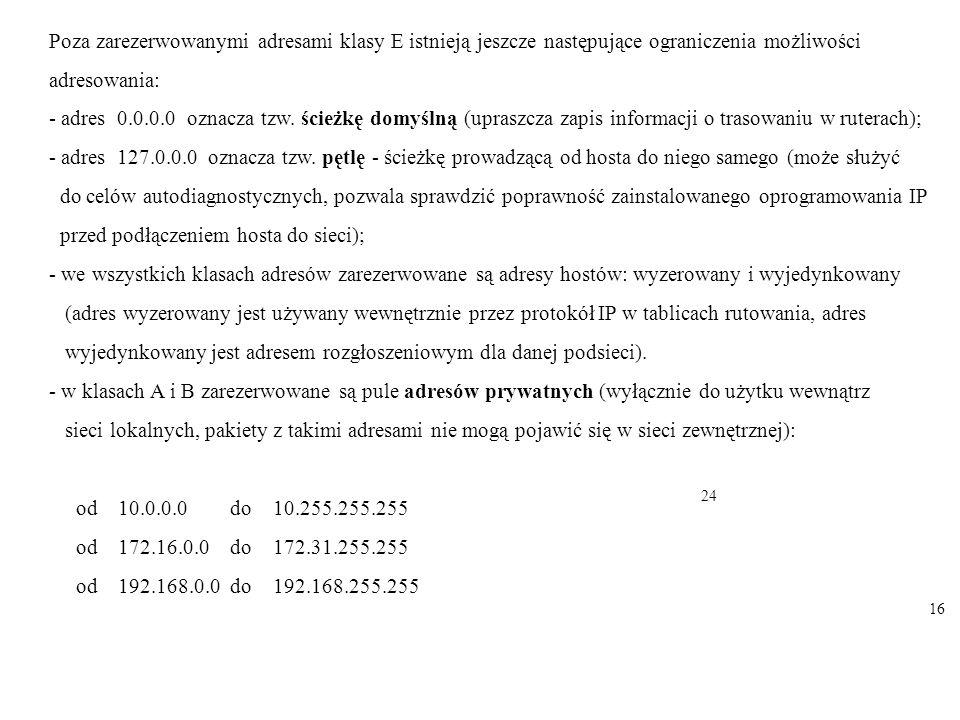 Poza zarezerwowanymi adresami klasy E istnieją jeszcze następujące ograniczenia możliwości adresowania: - adres 0.0.0.0 oznacza tzw. ścieżkę domyślną