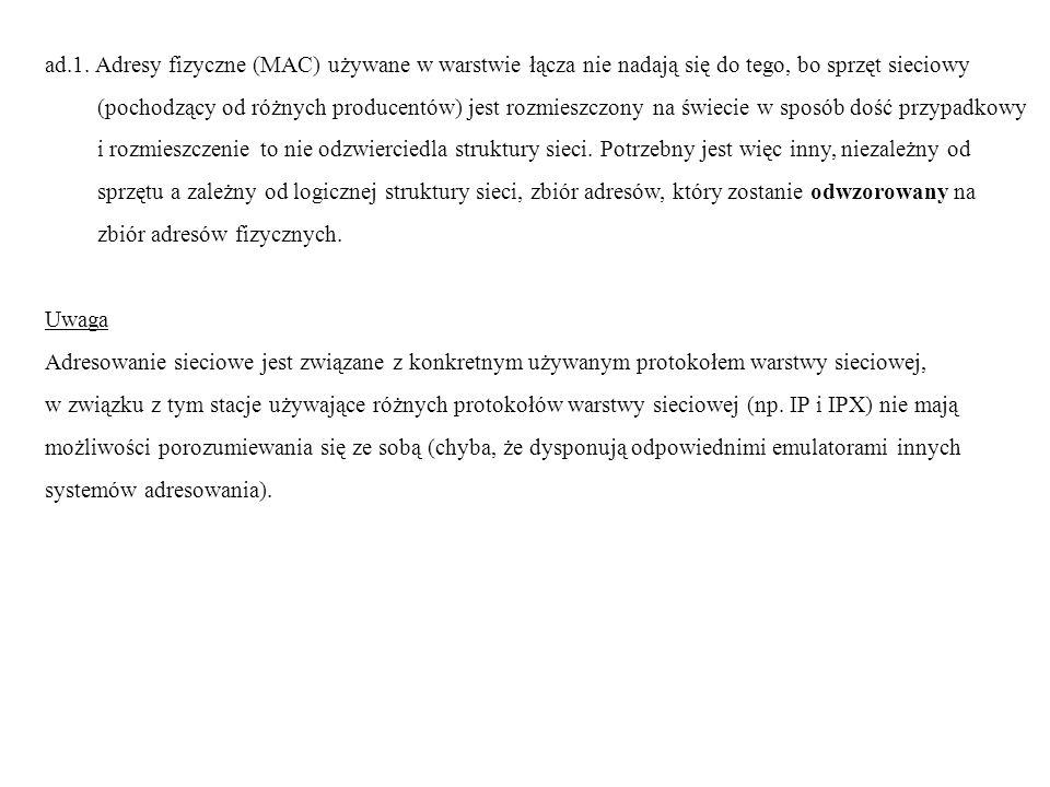 ad.1. Adresy fizyczne (MAC) używane w warstwie łącza nie nadają się do tego, bo sprzęt sieciowy (pochodzący od różnych producentów) jest rozmieszczony