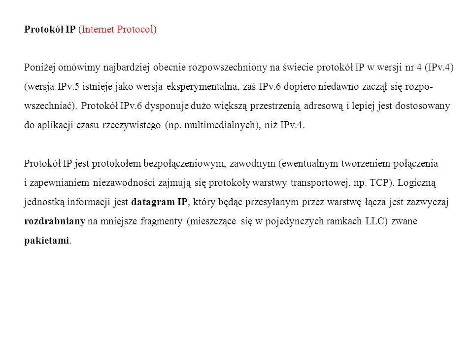 Struktura pakietu IP: 1 bajt 2 bajt 3 bajt 4 bajt nr wersji długość typ obsługi długość całkowita pakietu protokołu nagłówka identyfikator flagi przesunięcie N (3 bity) (13 bitów) A czas życia protokół suma kontrolna nagłówka G nadrzędny Ł adres źródłowy IP Ó W adres docelowy IP E K opcje niewykorzystane D A N E OPCJEOPCJE