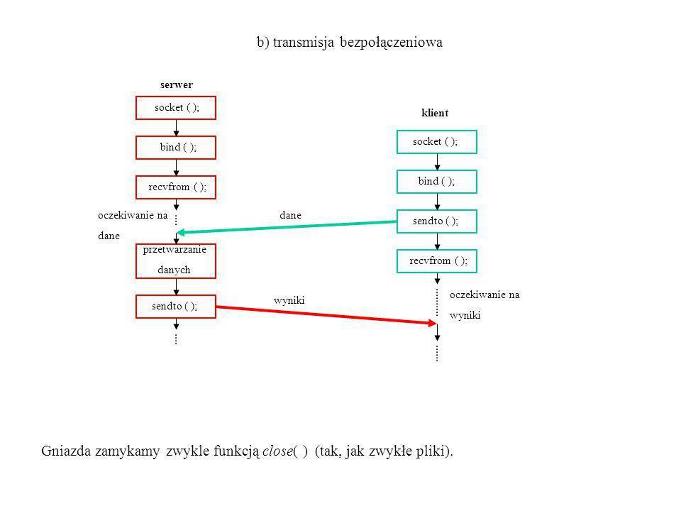 serwer socket ( ); bind ( ); recvfrom ( ); przetwarzanie danych sendto ( ); klient socket ( ); bind ( ); sendto ( ); recvfrom ( ); oczekiwanie na dane oczekiwanie na wyniki b) transmisja bezpołączeniowa dane wyniki Gniazda zamykamy zwykle funkcją close( ) (tak, jak zwykłe pliki).
