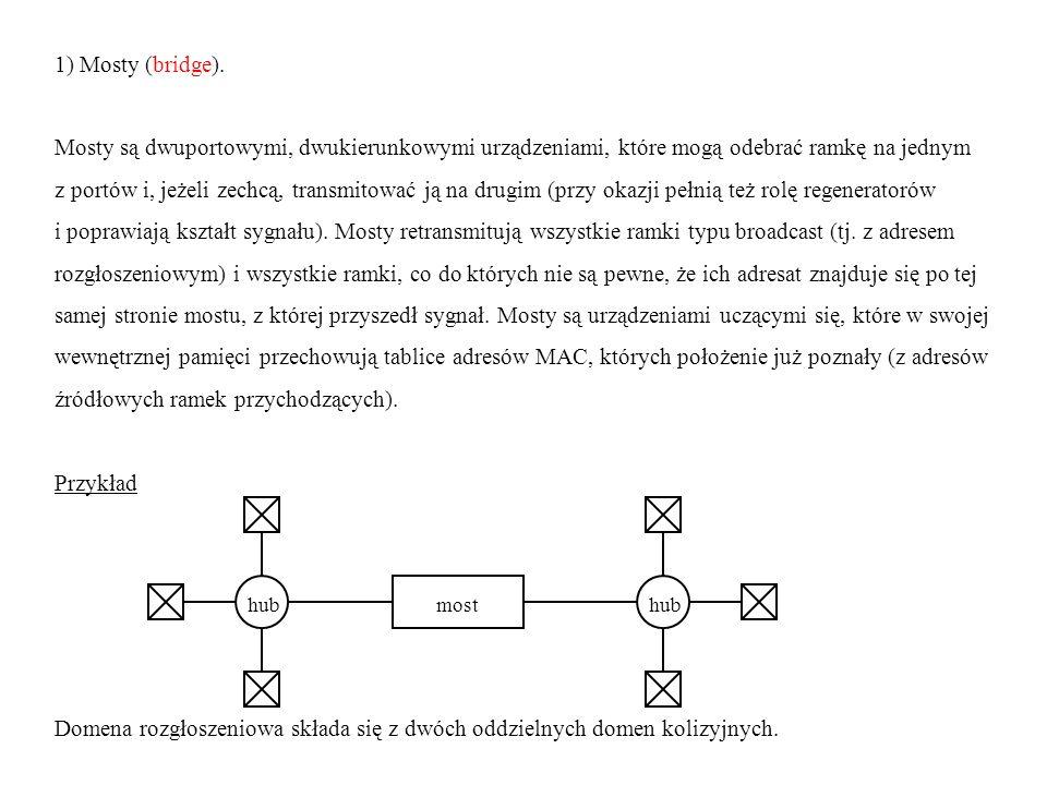 1) Mosty (bridge). Mosty są dwuportowymi, dwukierunkowymi urządzeniami, które mogą odebrać ramkę na jednym z portów i, jeżeli zechcą, transmitować ją