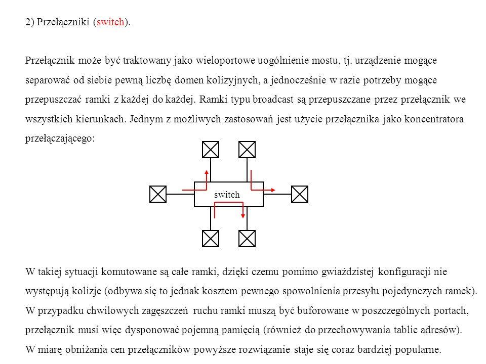 2) Przełączniki (switch). Przełącznik może być traktowany jako wieloportowe uogólnienie mostu, tj. urządzenie mogące separować od siebie pewną liczbę