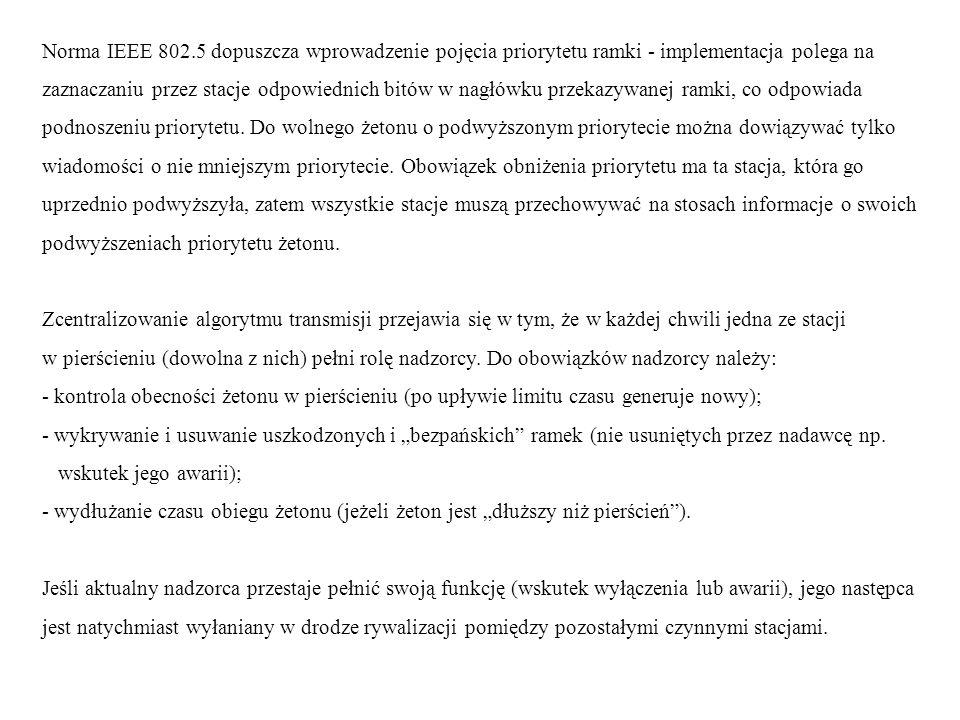 Norma IEEE 802.5 dopuszcza wprowadzenie pojęcia priorytetu ramki - implementacja polega na zaznaczaniu przez stacje odpowiednich bitów w nagłówku prze