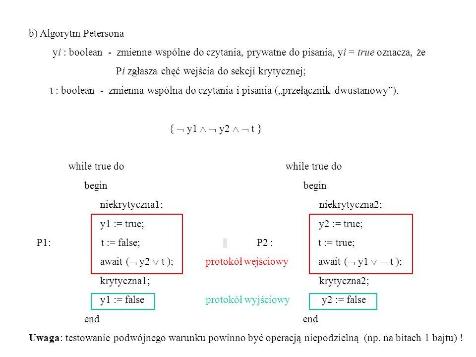 b) Algorytm Petersona yi : boolean - zmienne wspólne do czytania, prywatne do pisania, yi = true oznacza, że Pi zgłasza chęć wejścia do sekcji krytycz