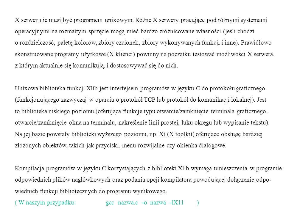 X serwer nie musi być programem unixowym.
