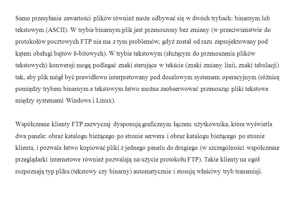 Samo przesyłanie zawartości plików również może odbywać się w dwóch trybach: binarnym lub tekstowym (ASCII). W trybie binarnym plik jest przenoszony b