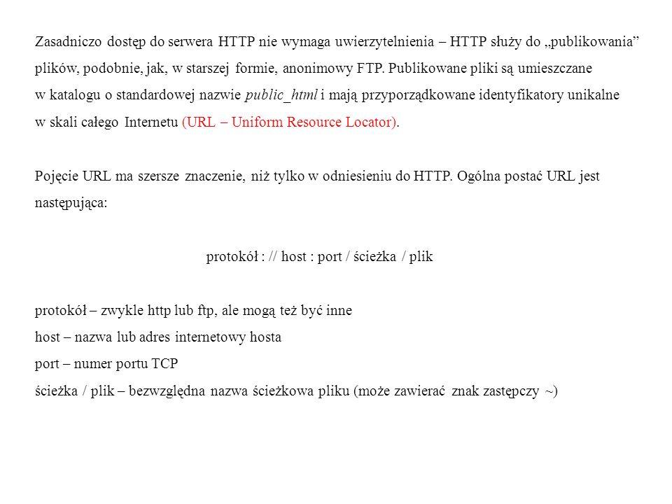 Niektóre z wyżej wymienionych składowych mogą być pominięte w zapisie (są wtedy uwzględniane wartości domyślne): protokół – w przeglądarkach internetowych domyślny jest http; port – przyjmowany jest standardowy port nasłuchu dla danego protokołu; plik – w przypadku protokołu http domyślny jest index.html, zaś jeśli nie jest dostępny, wyświetlana jest zawartość katalogu public_html (jeśli prawa dostępu pozwalają na to).