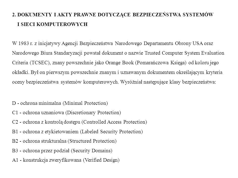 2. DOKUMENTY I AKTY PRAWNE DOTYCZĄCE BEZPIECZEŃSTWA SYSTEMÓW I SIECI KOMPUTEROWYCH W 1983 r. z inicjatywy Agencji Bezpieczeństwa Narodowego Departamen