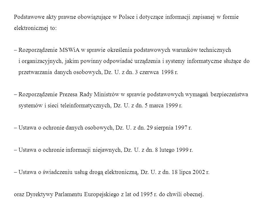 Podstawowe akty prawne obowiązujące w Polsce i dotyczące informacji zapisanej w formie elektronicznej to: – Rozporządzenie MSWiA w sprawie określenia