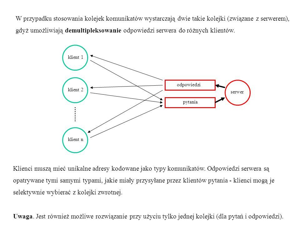 W przypadku stosowania kolejek komunikatów wystarczają dwie takie kolejki (związane z serwerem), gdyż umożliwiają demultipleksowanie odpowiedzi serwer