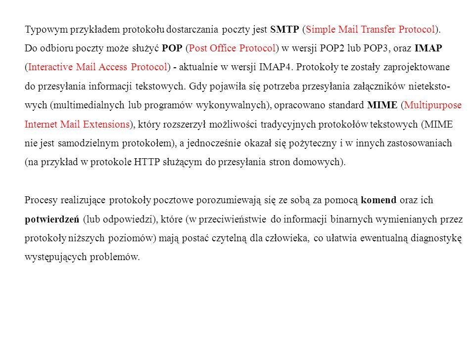 Typowym przykładem protokołu dostarczania poczty jest SMTP (Simple Mail Transfer Protocol). Do odbioru poczty może służyć POP (Post Office Protocol) w