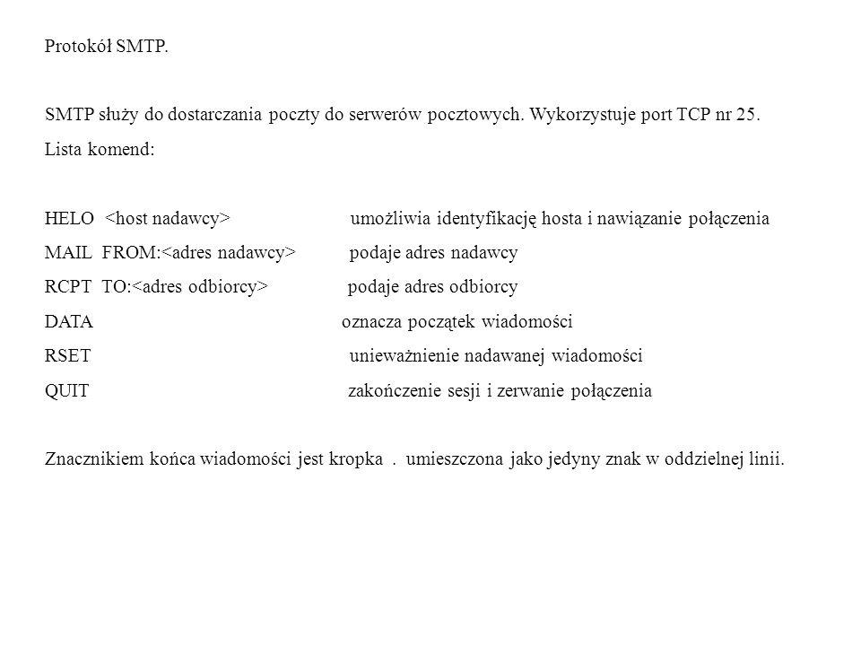 Protokół SMTP. SMTP służy do dostarczania poczty do serwerów pocztowych. Wykorzystuje port TCP nr 25. Lista komend: HELO umożliwia identyfikację hosta