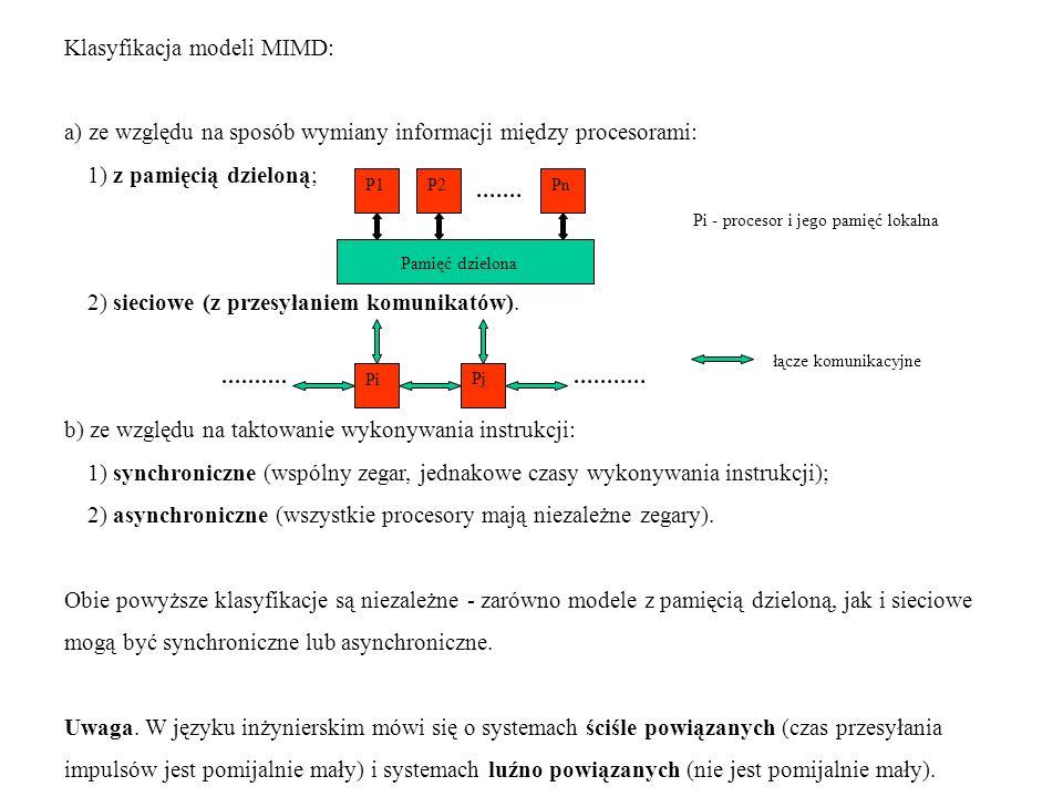 Klasyfikacja modeli MIMD: a) ze względu na sposób wymiany informacji między procesorami: 1) z pamięcią dzieloną; 2) sieciowe (z przesyłaniem komunikat