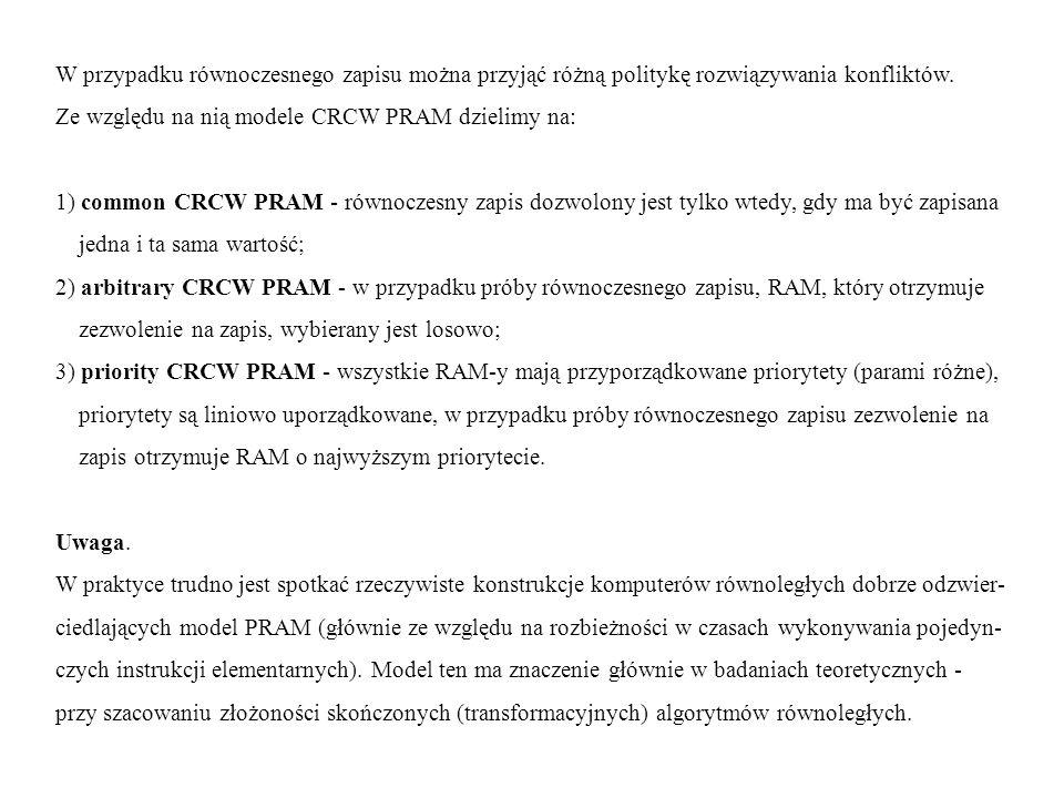 W przypadku równoczesnego zapisu można przyjąć różną politykę rozwiązywania konfliktów. Ze względu na nią modele CRCW PRAM dzielimy na: 1) common CRCW