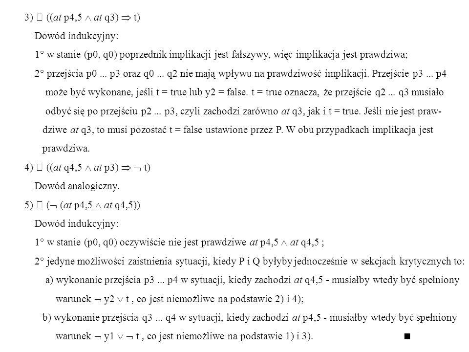 3)  ((at p4,5 at q3) t) Dowód indukcyjny: 1° w stanie (p0, q0) poprzednik implikacji jest fałszywy, więc implikacja jest prawdziwa; 2° przejścia p0..