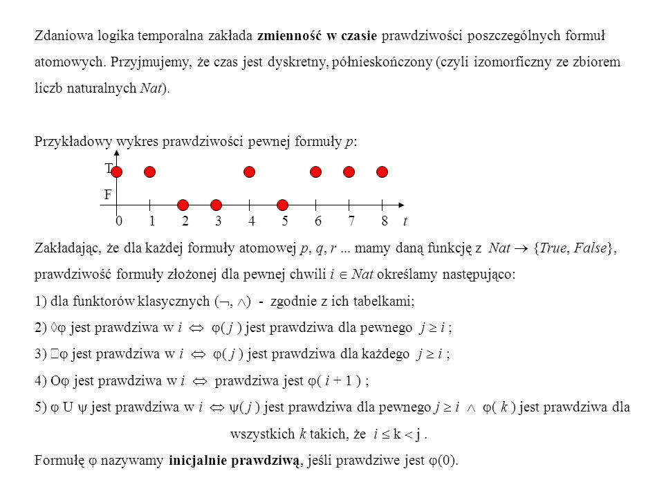 Dowodzenie własności programów reaktywnych przy użyciu logiki temporalnej Modelem programu jest zbiór skończenie stanowych diagramów przejść z załączonym wykazem początkowych wartości zmiennych.
