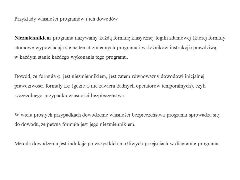 Przykłady własności programów i ich dowodów Niezmiennikiem programu nazywamy każdą formułę klasycznej logiki zdaniowej (której formuły atomowe wypowia
