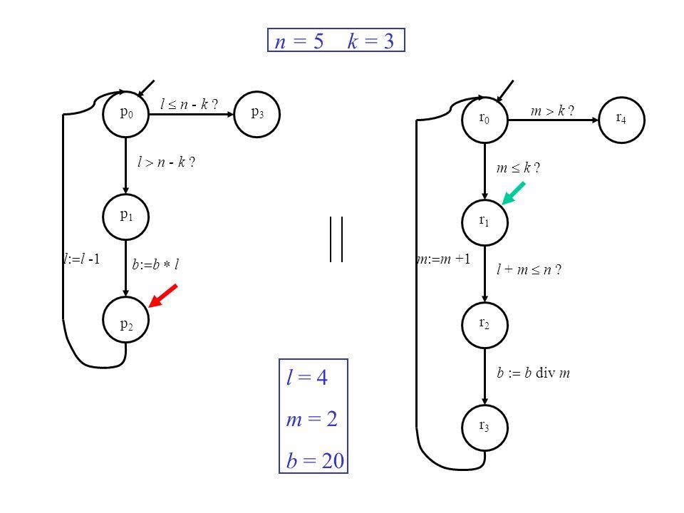 l n - k ? m k ? m: m +1l: l -1 n = 5 k = 3 l = 4 m = 2 b = 20 p0p0 p1p1 p2p2 p3p3 r0r0 r1r1 r2r2 r3r3 r4r4 b: b l m k ? l + m n ? b : b div m