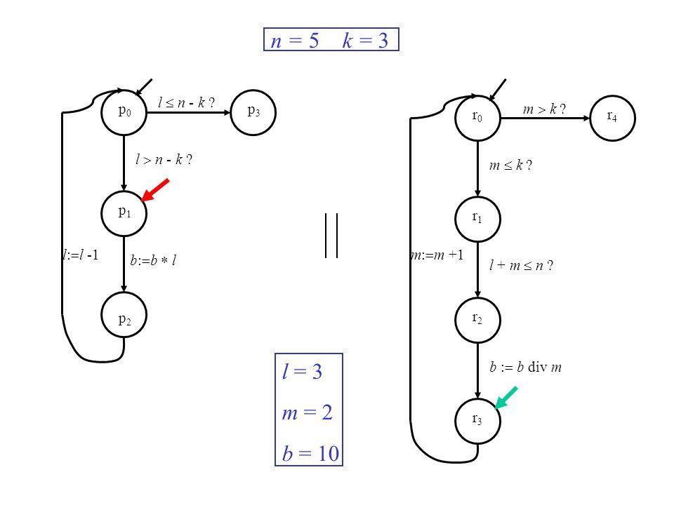 l n - k ? m k ? m: m +1l: l -1 n = 5 k = 3 l = 3 m = 2 b = 10 p0p0 p1p1 p2p2 p3p3 r0r0 r1r1 r2r2 r3r3 r4r4 b: b l m k ? l + m n ? b : b div m