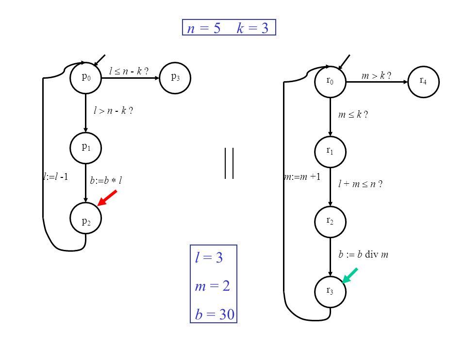 l n - k ? m k ? m: m +1l: l -1 n = 5 k = 3 l = 3 m = 2 b = 30 p0p0 p1p1 p2p2 p3p3 r0r0 r1r1 r2r2 r3r3 r4r4 b: b l m k ? l + m n ? b : b div m
