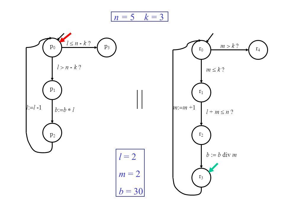 l n - k ? m k ? m: m +1l: l -1 n = 5 k = 3 l = 2 m = 2 b = 30 p0p0 p1p1 p2p2 p3p3 r0r0 r1r1 r2r2 r3r3 r4r4 b: b l m k ? l + m n ? b : b div m