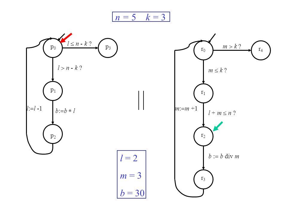 l n - k ? m k ? m: m +1l: l -1 n = 5 k = 3 l = 2 m = 3 b = 30 p0p0 p1p1 p2p2 p3p3 r0r0 r1r1 r2r2 r3r3 r4r4 b: b l m k ? l + m n ? b : b div m