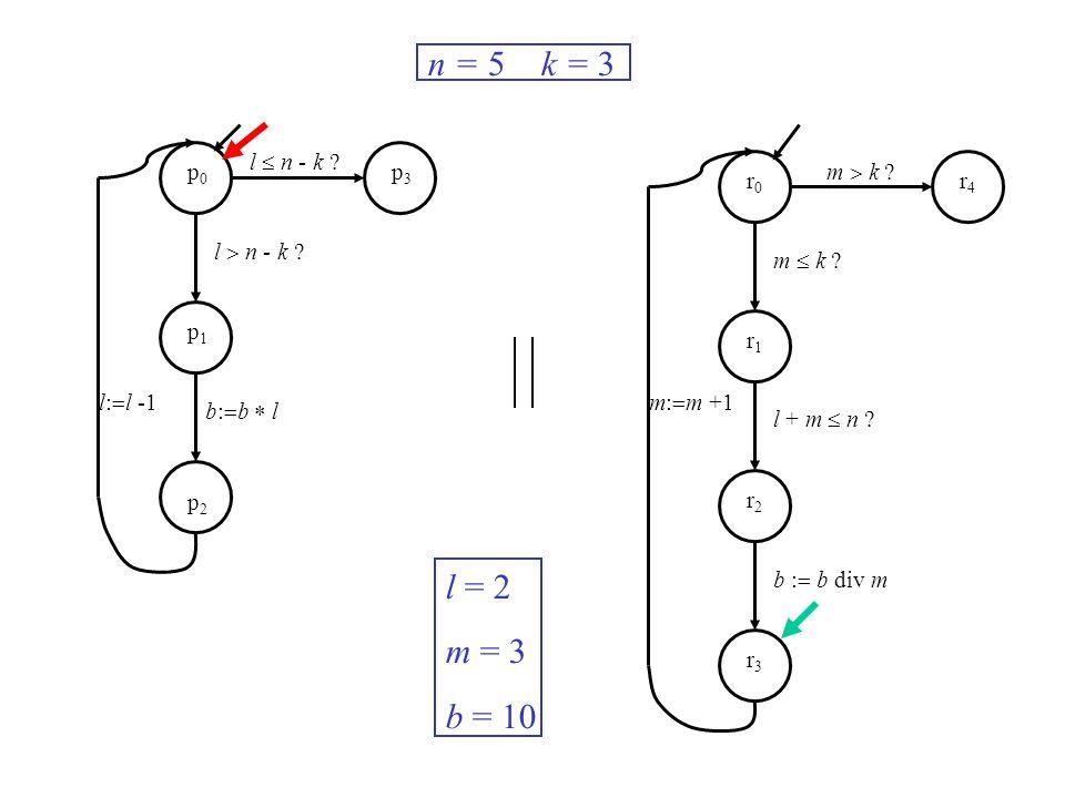 l n - k ? m k ? m: m +1l: l -1 n = 5 k = 3 l = 2 m = 3 b = 10 p0p0 p1p1 p2p2 p3p3 r0r0 r1r1 r2r2 r3r3 r4r4 b: b l m k ? l + m n ? b : b div m