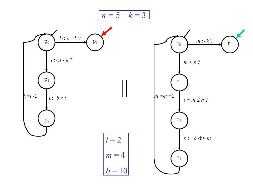 l n - k ? m k ? m: m +1l: l -1 n = 5 k = 3 l = 2 m = 4 b = 10 p0p0 p1p1 p2p2 p3p3 r0r0 r1r1 r2r2 r3r3 r4r4 b: b l m k ? l + m n ? b : b div m