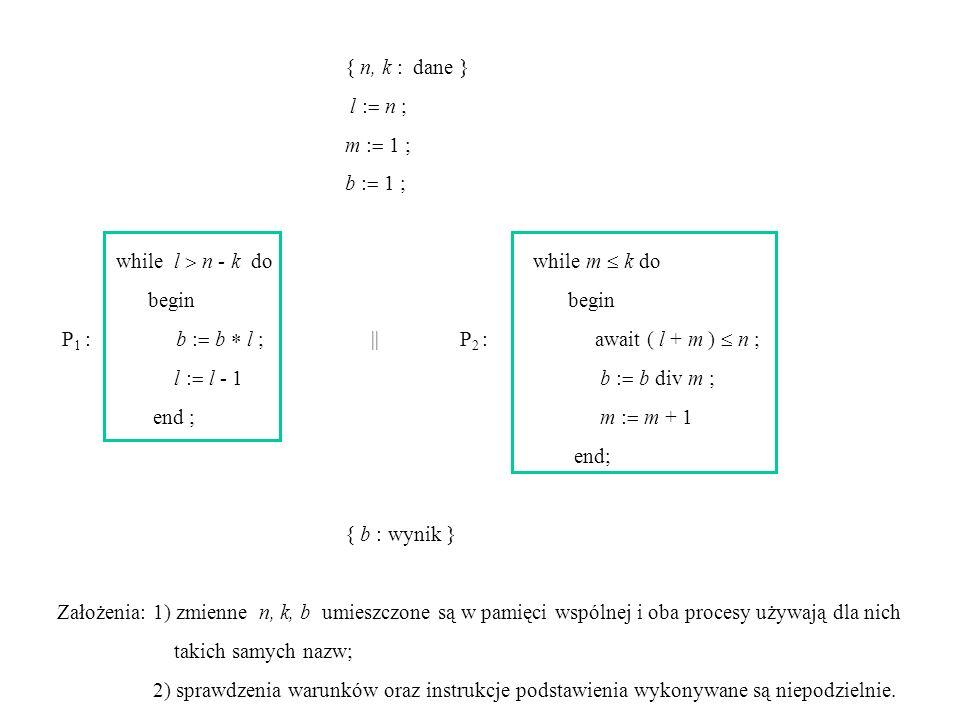 Instrukcja await (wb), gdzie wb jest wyrażeniem boolowskim, zawiesza wykonywanie procesu do momentu, gdy zacznie zachodzić wb = true.