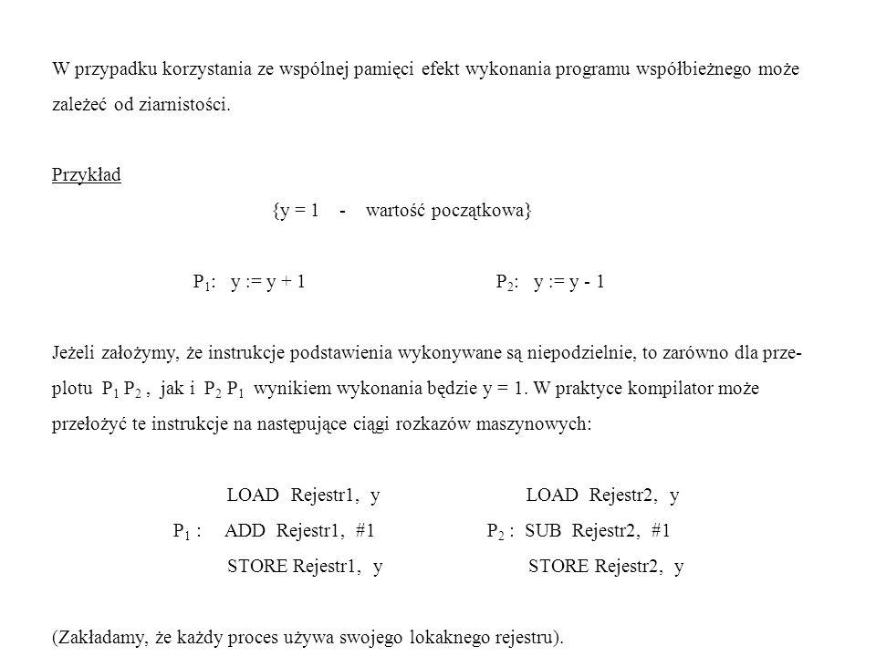 W przypadku korzystania ze wspólnej pamięci efekt wykonania programu współbieżnego może zależeć od ziarnistości. Przykład {y = 1 - wartość początkowa}
