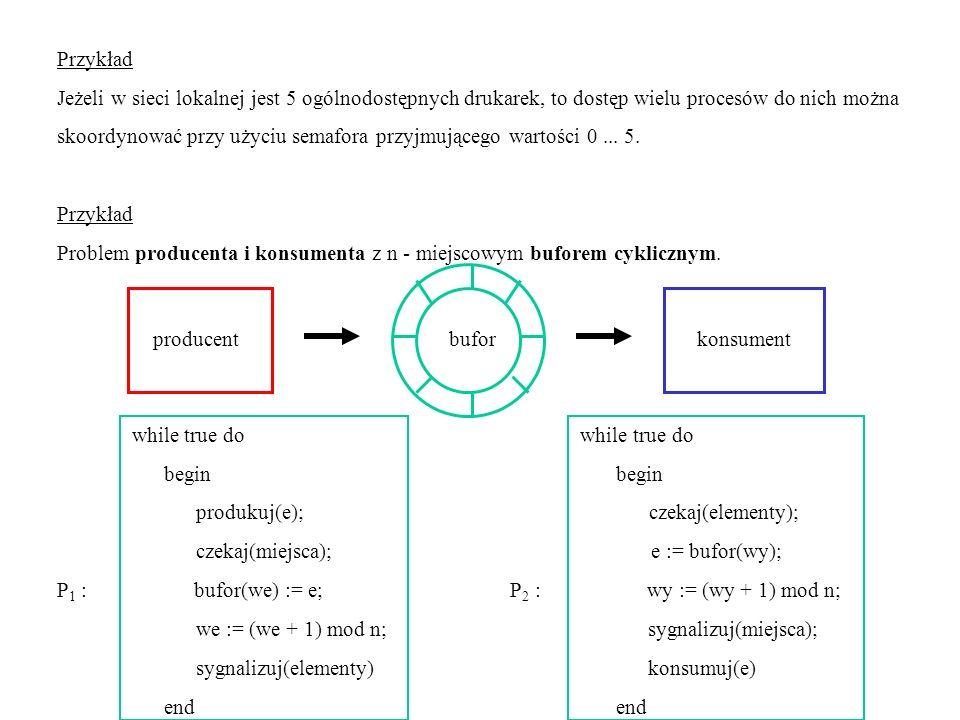 Przykład Jeżeli w sieci lokalnej jest 5 ogólnodostępnych drukarek, to dostęp wielu procesów do nich można skoordynować przy użyciu semafora przyjmując