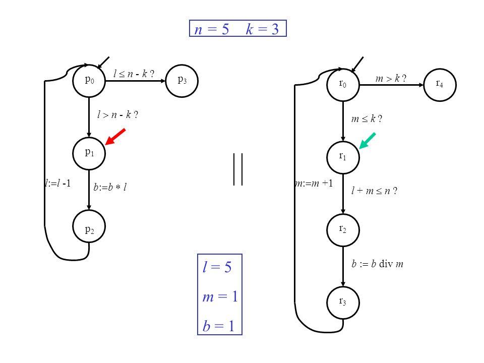 l n - k ? m k ? m: m +1l: l -1 n = 5 k = 3 l = 5 m = 1 b = 1 p0p0 p1p1 p2p2 p3p3 r0r0 r1r1 r2r2 r3r3 r4r4 b: b l m k ? l + m n ? b : b div m