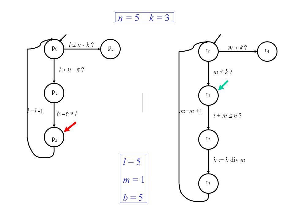 l n - k ? m k ? m: m +1l: l -1 n = 5 k = 3 l = 5 m = 1 b = 5 p0p0 p1p1 p2p2 p3p3 r0r0 r1r1 r2r2 r3r3 r4r4 b: b l m k ? l + m n ? b : b div m