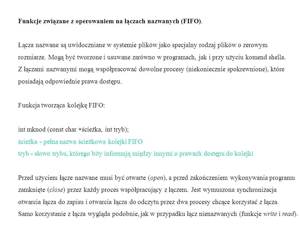 Funkcje związane z operowaniem na łączach nazwanych (FIFO).