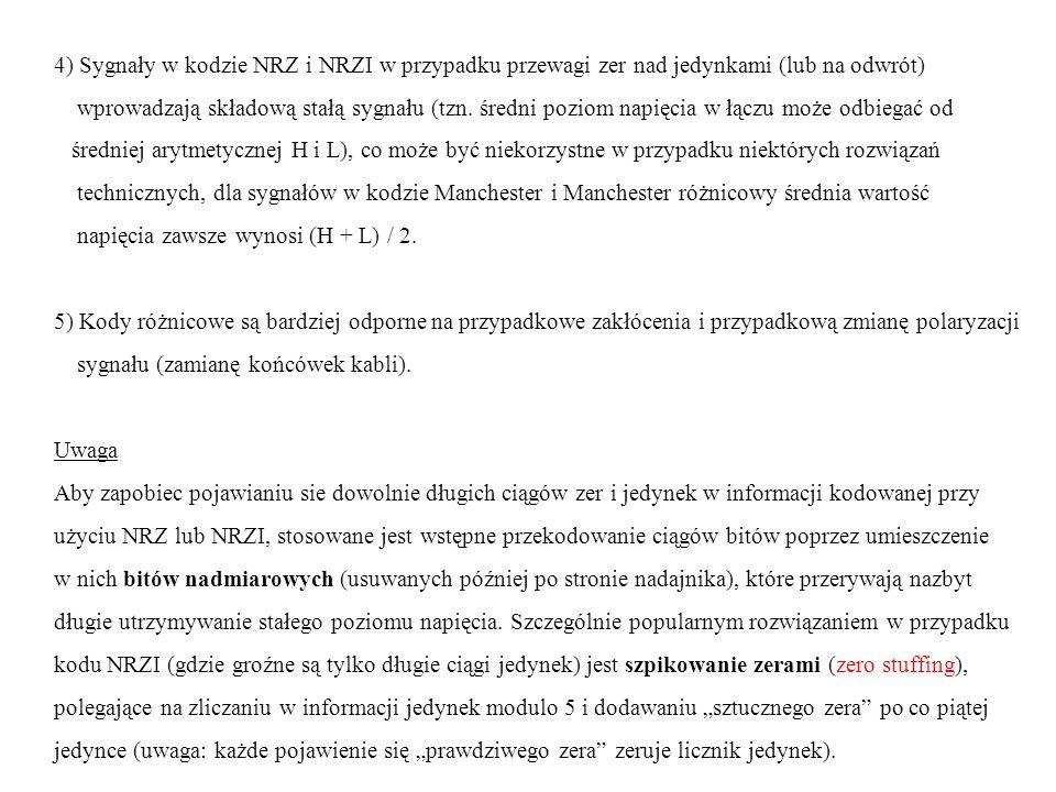 4) Sygnały w kodzie NRZ i NRZI w przypadku przewagi zer nad jedynkami (lub na odwrót) wprowadzają składową stałą sygnału (tzn. średni poziom napięcia
